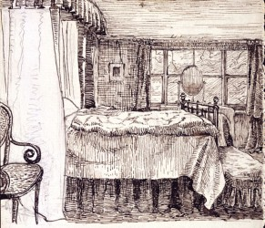 "Beatrix Potter, ""Bedroom interior at Camfield Place, Hatfield"" (© Frederick Warne & Co. 2006)"